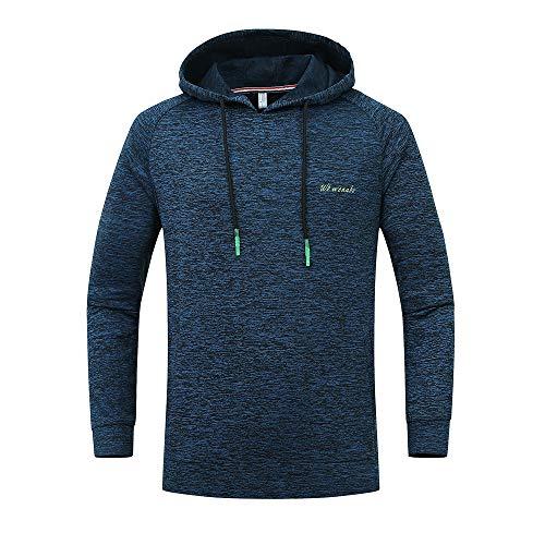 Xmiral Herren Hoodie Sweatshirt Große Größe Outdoor Sports Gebrochene Streifen Mit Kapuze Top Bluse(3XL,Dunkelblau)