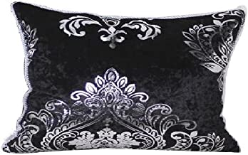 HYSENM Rectangle 12x20 Luxury Velvet Silver Patterns Pillow Case Sham Cover Throw Cushion Cover Office Home Hotel Décor, Black 12X20