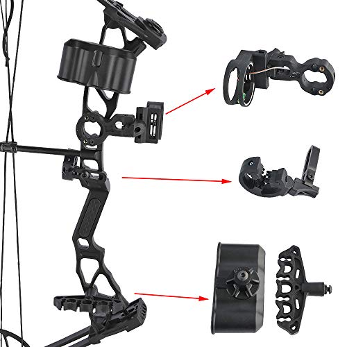 SHARROW Youth Compound Bow Archery Set 14-40lbs Adjustable Junior Compound Bow and Arrow Set Children Bow with All Accessories for Kids Beginners Outdoor Shooting Training (Type 1:Black)
