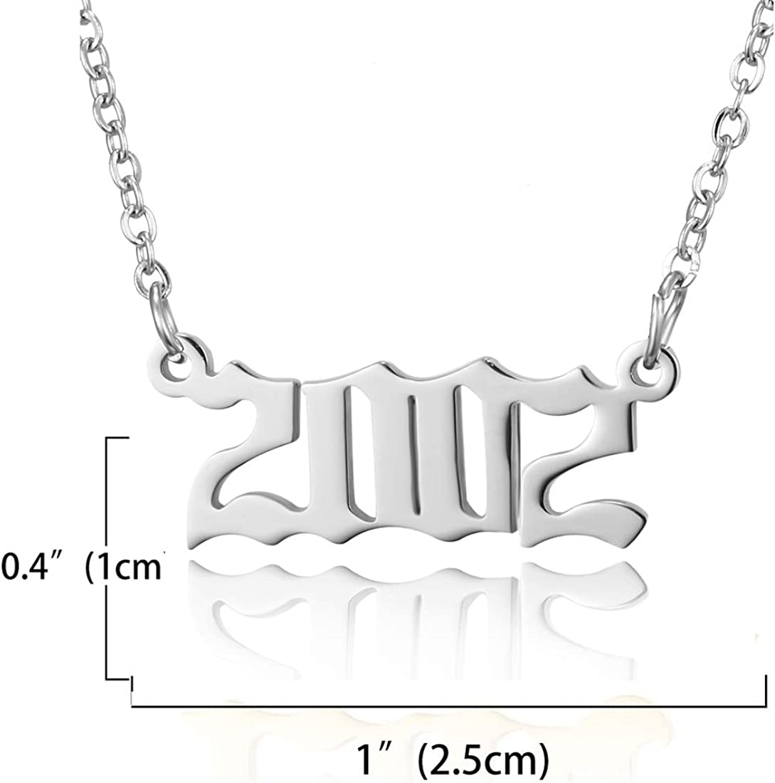 RINHOO Birth Year Number Pendant Necklace Stainless Steel Silver Number Birthday Necklace Chain Jewelry for Women Girl