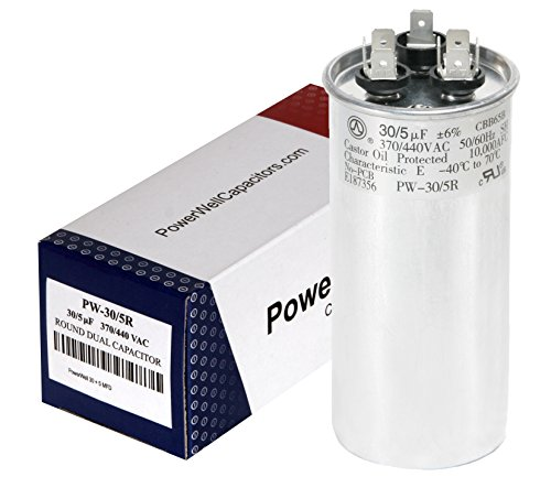PowerWell 30 + 5 MFD uf 370 or 440 Volt Dual Run Round Capacitor PW-CAP-30/5/370-440R for Condenser Straight Cool or Heat Pump Air Conditioner - Guaranteed to Last 5 Years