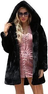 Women's Hooded Faux Fur Long Jacket Top,Warm Coat Jacket Winter Parka Outerwear