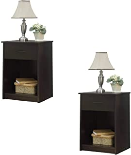 Set of 2 Nightstand MDF End Tables Pair Bedroom Table Furniture Multiple Colors (Gray) (2 Sets, Espresso (Set of 2))