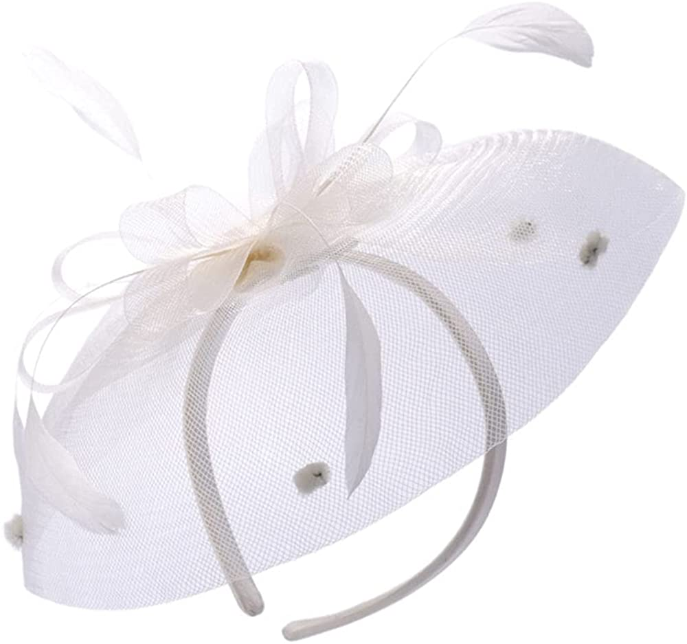 Womens Fascinator,Vintage Cambric Feathered Headband for Ladies?Banquet Hairpin Top Hat Flower