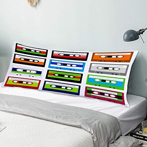 NUXIANY Funda de Almohada Larga Colección de los años 90 de Cintas de casetes de Audio de plástico Retro Tema de Entretenimiento de tecnología Antigua Protector de Almohada con Cremallera
