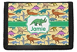 7. RNK Shops Personalized Dinosaur Trifold Wallet