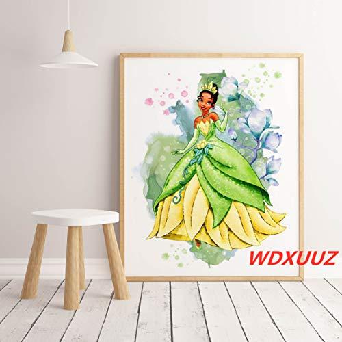 Frameloos Prinses prinses aquarel poster in spel anime sprookje hoge kwaliteit canvas schilderij Home Decor Art Decor <> 40x60cm