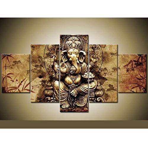 Looaceo Sala De Estar Modular Pictures HD Impreso Canvas 5 Panel Arte HD Impreso Lienzo Póster Decoración del Hogar 5 Panel Religión India Elefante Dios Sala De Estar 59 * 31 Pulgadas 150 * 80 cm