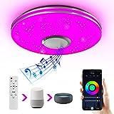 Wayrank Lámpara de Techo Led con Altavoz Bluetooth, Plafon Led Techo RGB Controlada por APP y Control Remoto para Cocina Dormitorio, Compatible Alexa Google Assistant, 36W