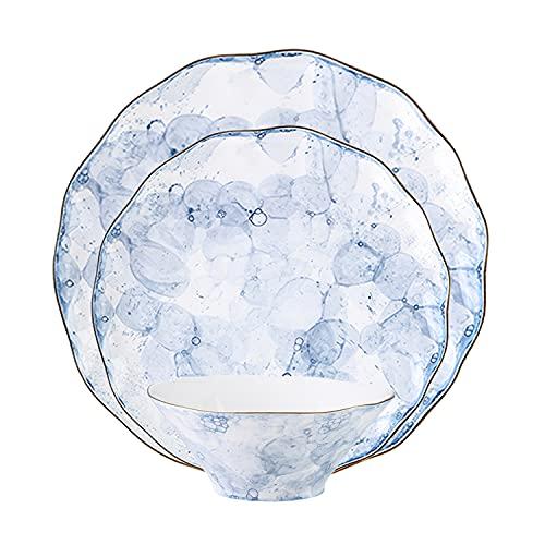 WDSWBEH Juego de vajilla de porcelana de 24 piezas, juegos de vajilla, platos y cuencos para 8, serie de espuma azul chapado en oro de 24 quilates, B