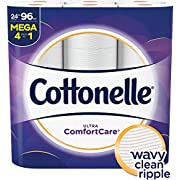 Cottonelle Ultra ComfortCare Toilet Paper, Soft Biodegradable Bath Tissue, Septic-Safe, 24 Mega Rolls