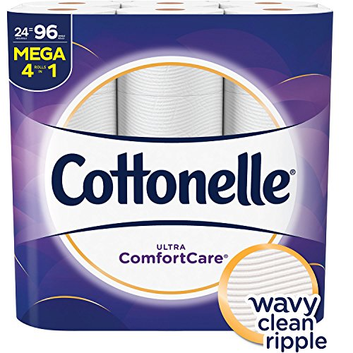 STOCK UP – Cottonelle Ultra Comfortcare Toilet Paper, Soft Bath Tissue, Septic-Safe, 24 Mega Rolls,96 Count.