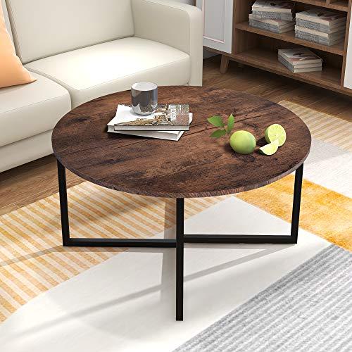 BOFENG Runder Couchtisch, Teetisch, Beistelltisch, Sofatisch für Wohnzimmer, mit Metallbeinen, schwarz + braun Eiche