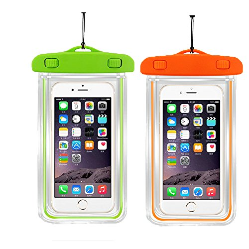 """[2pack]Waterproof Case Universal CellPhone Dry Bag Pouch CaseHQ for Apple iPhone 8,8plus,7,7Plus,6S, 6, 6S Plus, SE, 5S, Samsung Galaxy s8,s8plus, S7, S6 Note 7 5,HTC LG Sony Nokia up to 5.8"""" diagonal"""