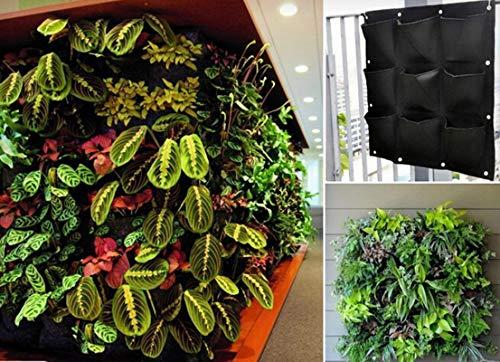 9 Pocket Groene Verticale Tuin Planter Wandmontage Planten Bloem Groei Tas