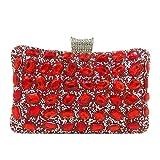 Mdsfe Boutique Elegante Mujer Bolsos de Noche de Embrague de Cristal Cena Formal Bolsos de Diamantes de imitación Bolsos de Novia para la Boda - Rojo, Apto para Iphone8 Plus