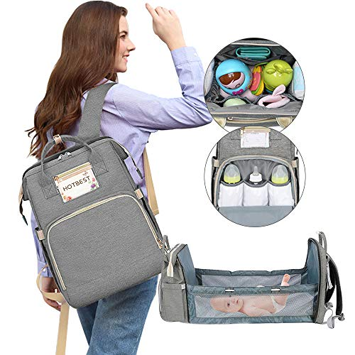 HOTBEST Diaper Bag with Bassinet Changing Station Backpack Portable Baby Bed Mommy Bag Travel Foldable 900D Waterproof Washable Crib Infant Sleeper Nest for Girls Boys (Gray)