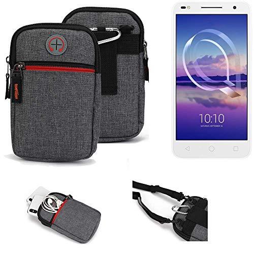 K-S-Trade® Gürtel-Tasche Für Alcatel U5 HD Dual SIM Handy-Tasche Schutz-hülle Grau Zusatzfächer 1x