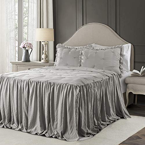 Lush Decor Light Gray Ravello Pintuck Ruffle Skirt Bedspread Shabby Chic Farmhouse Style Lightweight 3 Piece Set King