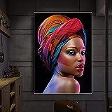 Cuadros de pared 40x60cm sin marco Sexy mujer africana negra labios rojos Cuadros carteles e impresiones escandinavo cuadro de arte de pared para sala de estar
