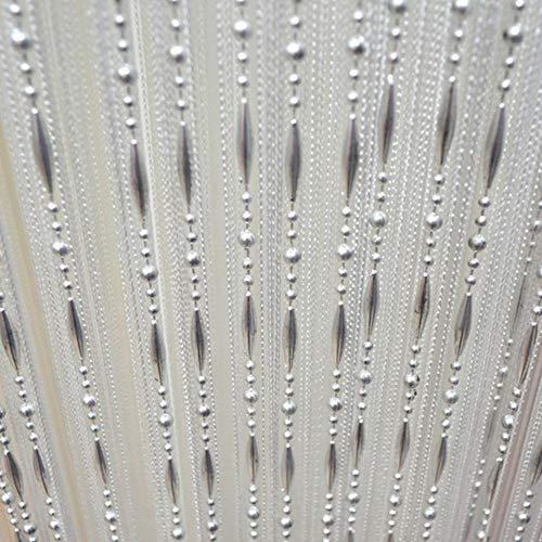 LCHULLE Fadenvorhang 100x200 Türvorhang Weiß Perlenvorhang mit Tautropfen Kunststoffperlen Streifenvorhang Wandvorhang Fensterdekoration Insektenschutz Pailettenvorhang Weiß