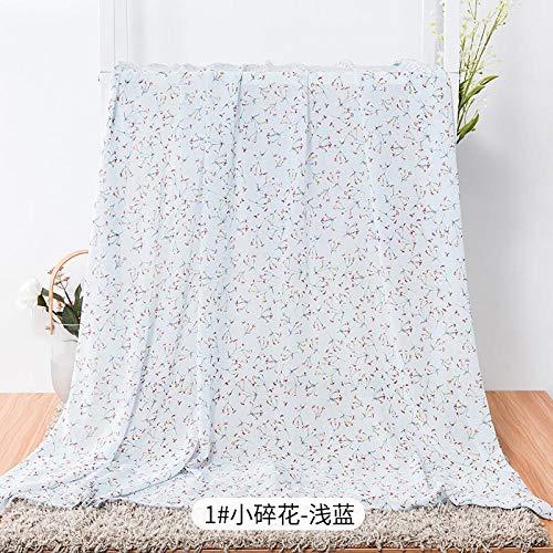 Tela estampada de gasa, tela de ropa de mujer Hanfu de estilo chino, tela de bricolaje, 1 metro-Pequeño floral azul claro