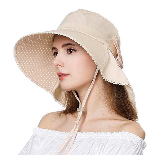 womens novelty sun hats Siggi Summer Pony Tail Flap Cap UPF 50+ Cotton Sun Hat with Ponytail Hole Neck Cover Cord for Women 55-61cm