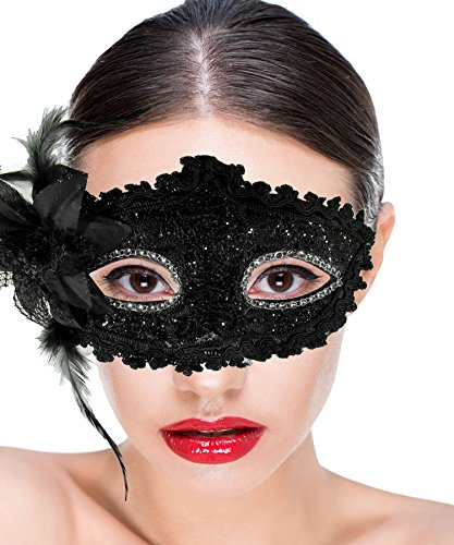 Missamé Women Costume Masquerade Mask With Flower For Halloween, Mardi Gras, Holiday Parties, School Dance and Balls