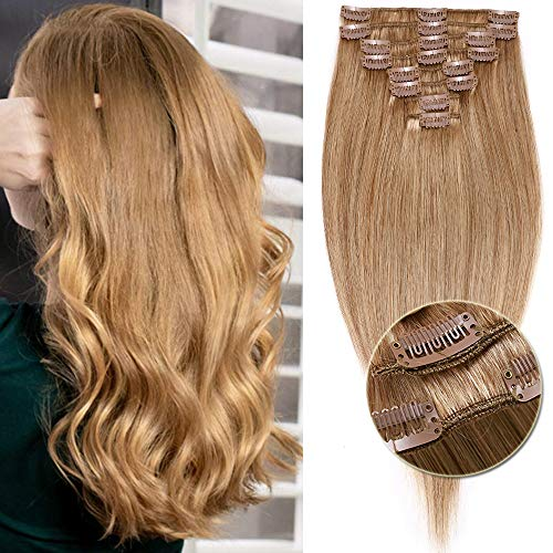Extensions Echthaar Clip in 8 Tressen 18 Clips Normal Günstig Glatt Haarteil Weich Haarverlängerung 100% Human Hair 33cm-80g 27# Dunkelblond