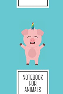 Notebook for Animals: Lined Journal with Unicorn Pig with rainbow Design - Cool Gift for a friend or family who loves pigl...