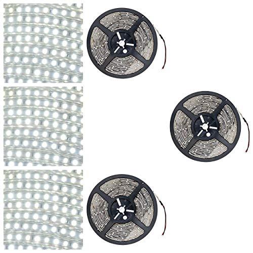 Striscia LED bianca fredda, 15 m, 900 LED, striscia LED, IP65, impermeabile, per interni ed esterni, illuminazione a risparmio energetico (15 m = 3 x 5 m senza accessori)