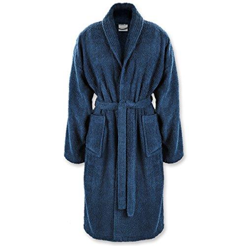 Gräfenstayn® Bademantel mit Schalkragen - 100% Baumwolle mit Öko-Tex Siegel/viele Farben und Größen/super saugfähig für Damen & Herren / 60°C Maschinenwäsche (M, Blau)