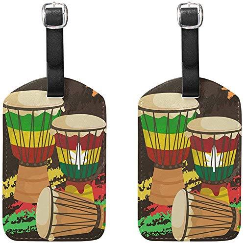 Etiquetas de Equipaje de percusión Africana Djembe Etiquetas de Viaje de Bolsa...