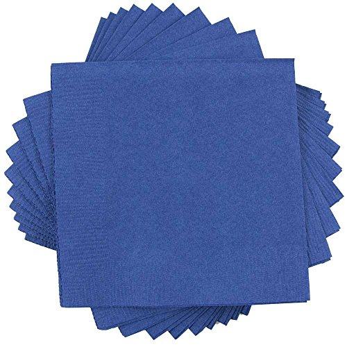 "JAM Paper Medium Lunch Napkins - 6 1/2"" x 6 1/2"" - Blue - 50/Pack"