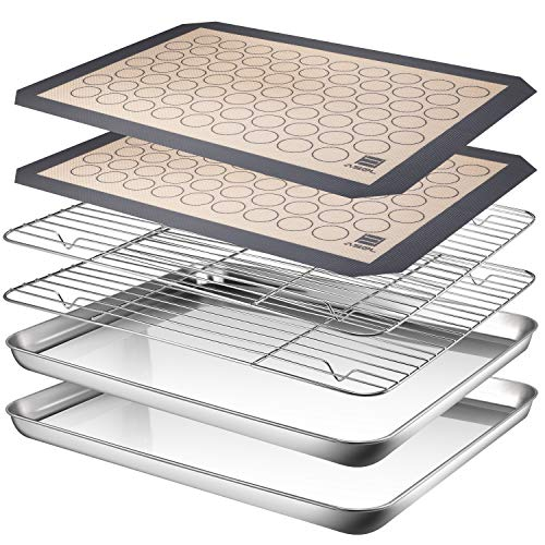 AASELM Baking Sheet Cooling Rack with Silicone Mat, Stainless Steel Cookie Sheet Non Toxic & Healthy, Superior Mirror Finish & Easy Clean, 2 Baking Sheets + 2 Mats + 2 Baking Rack