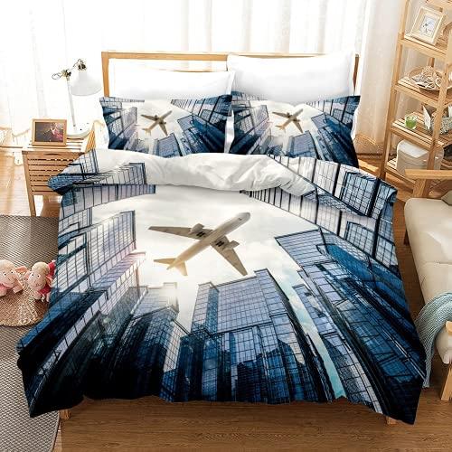 QQMHG Set di biancheria da letto con motivo aereo, 135 x 200 cm, copripiumino con federa, blu grigio marrone, stampa 3D, in microfibra, per ragazzi (A5,135 x 200 cm + 1 x 50 x 75 cm)