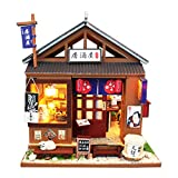 Spilay DIY Dollhouse Miniature with Wooden Furniture,Handmade Japanese Style Home Craft Model Mini Kit with Dust Cover&LED,1:24 3D Creative Doll House Toy for Adult Teenager Gift (One of The Izakaya)