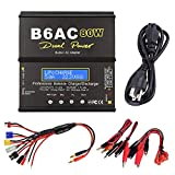 Skytoy ST-B6AC Lipo Battery Charger Balance Charger Discharger 1S-6S Digital Battery Pack Charger with AC Power Supply for NiMH/NiCD/Li-PO/Li-Fe Packs w/ Tamiya/JST/EC3/HiTec/Deans Connectors