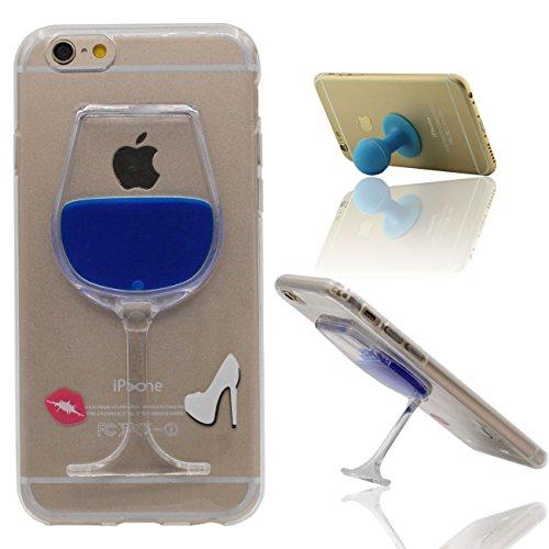 Desconocido iPhone 6 Funda iPhone 6S Cacarsa Copa Copa del Vino Forma Transparente TPU Sauve Blando Gel Líquido Agua Kickstand Diseño Case para Apple iPhone 6 6S 4.7' con 1 Silicona Poseedor
