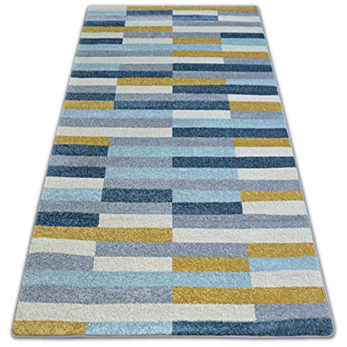 Scandinavisk NORDIC matta för vardagsrum, sovrum, hall, kök, solid, modern, hem, rektangulär, tvättbar, STOCKHOLM grå/blå stor 160x220 cm