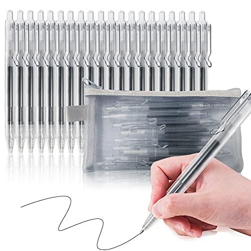 20 Penne Nere Gel, Penna a sfera retrattile, Penna Quick Dry, Punta Media (0.5 mm), Fornitura per Cancelleria Scuola e Ufficio