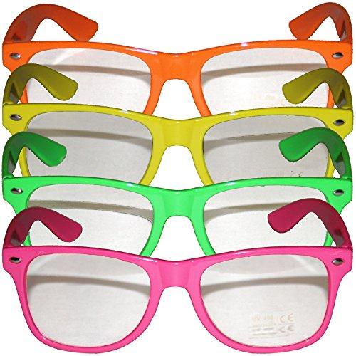 4 x Partybrille mehrere Farben Komplettbrille Alltagsbrille Brillen für Partys farbige Brille