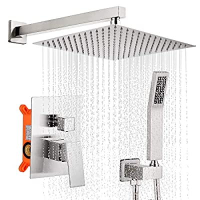 Qomolangma 12 inches Bathroom Rain Shower System with Pressure Balance Valve,Brushed Nickel Wall Mounted 2-Functions Shower Faucet Set with Handheld Shower, Rough-In Valve Body Incuded