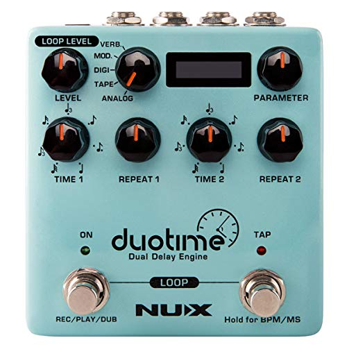 NUX Duotime stereo delay pedal with independent time,analog delay,tape echo,digital delay,modulation delay and verb delay