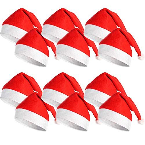 DS Toys Confezione 12 Cappelli Natalizio Babbo Natale Berretto Natalizio Costume Babbo Natale - Articolo per cene o Costumi di Stagione di Natale Adulti 28x28cm