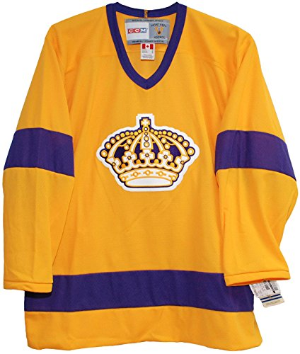 CCM Vintage Los Angeles King 1967 Home Yellow Jersey (Large)