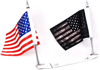 GUAIMI License Plate Mounted Double Flag Holder Double Motorcycle Flags (The American Flag & Dark American Flag)
