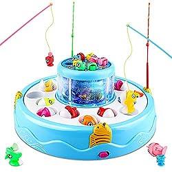 【Design unico a 2 strati con luce splendente e musica】 Il giocattolo da pesca ha 2 strati e un mondo oceanico 3D unico. Quando inizi il gioco, la piastra da pesca a doppio strato ruoterà di 360 gradi in diverse direzioni con luce e musica, rendendo i...