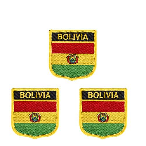 3 Stück Bolivien-Flagge bestickt Shiled Form Aufbügler Aufnäher Applikation Aufbügler Aufbügler