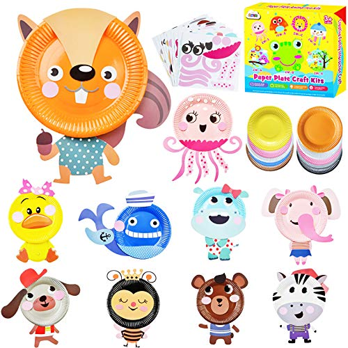 ZMLM Art Crafts Toys for Toddler: Paper Plate Art Kit for Girl Boy Birthday Gift Art Supply Project Creative Fun Children Preschool Party Favor Learning Game Holiday Crafts Christmas Activity for Kids